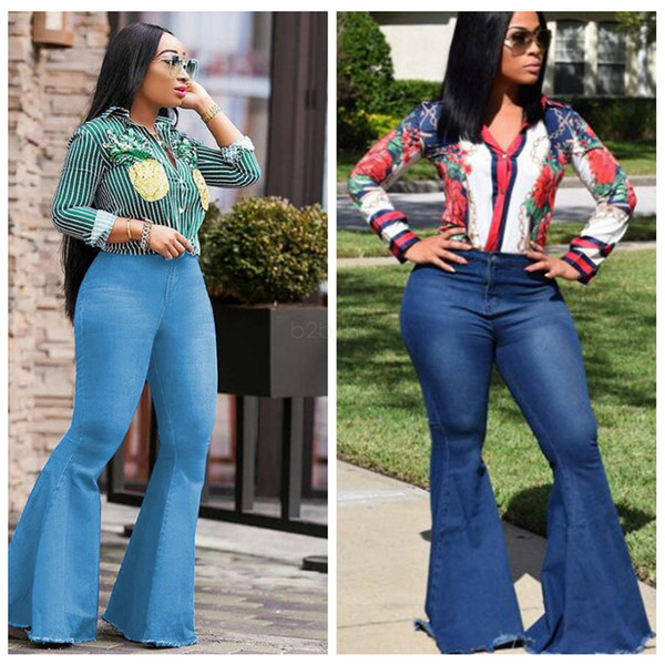 best selling Women Flare Jeans Pants Slim Sexy Casual Vintage Bootcut Wide Leg Flared Jeans Office Lady Bell Bottoms Denim Pants LJJA2583