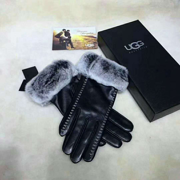 Imported first class sheepskin gloves for women winter rabbit fur and fleece thickened leather warm cycling wind protection