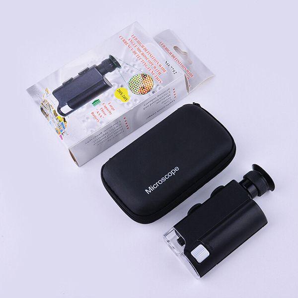 Freeshiping Mini Portable Microscope Pocket 200X-240X Handheld LED Lamp Light Loupe Zoom Magnifier Magnifying Glass Pocket Lens Jewelry Test