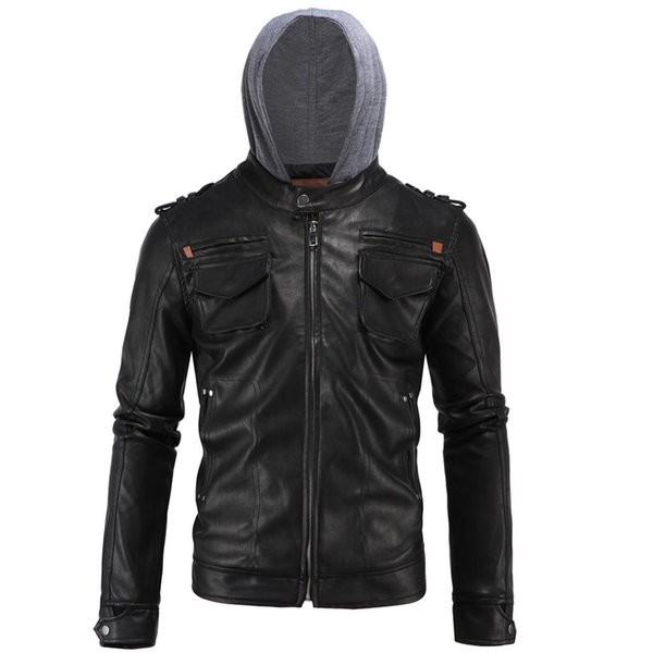 New Top quality Leather Jacket Men Slim Fit Fashion Dropshipping Motorcycle Biker Vintage clothes Male Zippers hooded Coat