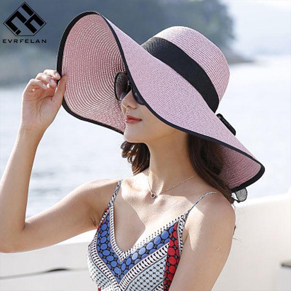 Evrfelan vendita calda tondo top rafia a tesa larga cappelli di paglia estate cappelli da sole per le donne con il tempo libero spiaggia lady parasole