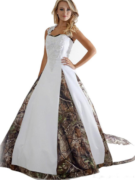 Camouflage A Line Weedding Dresses 2019 With Beaded Appliques Long Court Train Spaghetti Straps Satin Camo Bridal Gowns with Lace up