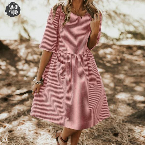 Tamanho Vestido meia listrada Casual 2019 Verão Mulheres elegante O Neck luva frouxo Pockets Baggy Praia Vestido Robe
