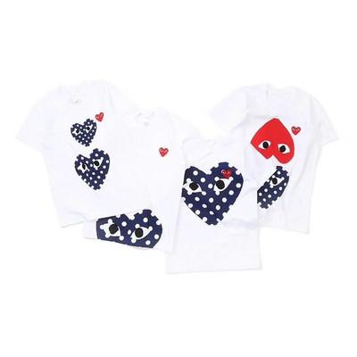 2018 New commess Quality Hot HOLIDAY Heart Emoji Japanese White Black Polka Dots Heart White Navy T Shirt Mens Womens