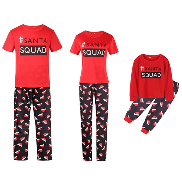 Red New Fall and Winter Housewear Christmas Hat Printed Parent-Child Suit Family Wear Sleepcoat Pajamas YY0070