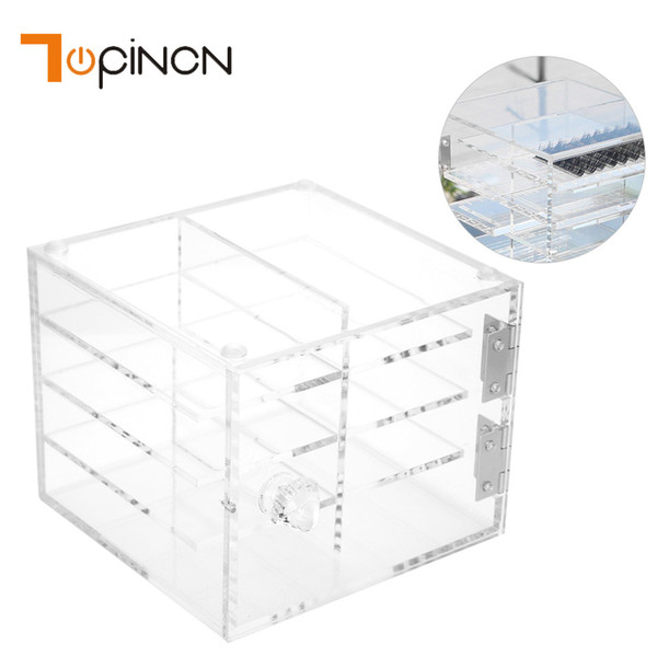 8 Layers Acrylic Makeup Organizer False Eyelash Extension Carrying Box Durable Transparent Storage Box Make Up Cosmetic Case