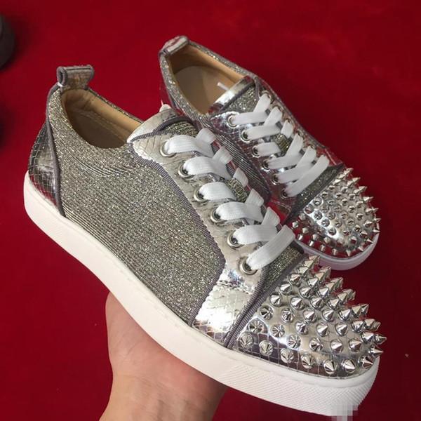 2019 Zapatillas de deporte de lujo para hombres Zapatillas con cordones Zapatos con fondo rojo Zapatos de calidad superior GRIS NUEVO Diseñador Casual Cuero genuino