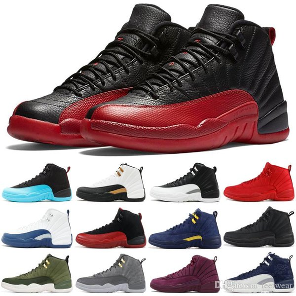 High Quality 12 12s OVO White Gym Red Dark Grey Basketball Shoes Men Women Taxi Blue Suede Flu Game CNY Sneakers size 41-47