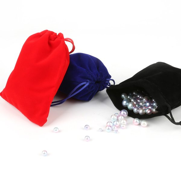 Red/Black/Dark Blue Colors Size 10*12cm 5pcs/bag Velvet Drawstring Pouch Bag/Jewelry Bag Christmas/Wedding Gift Bag