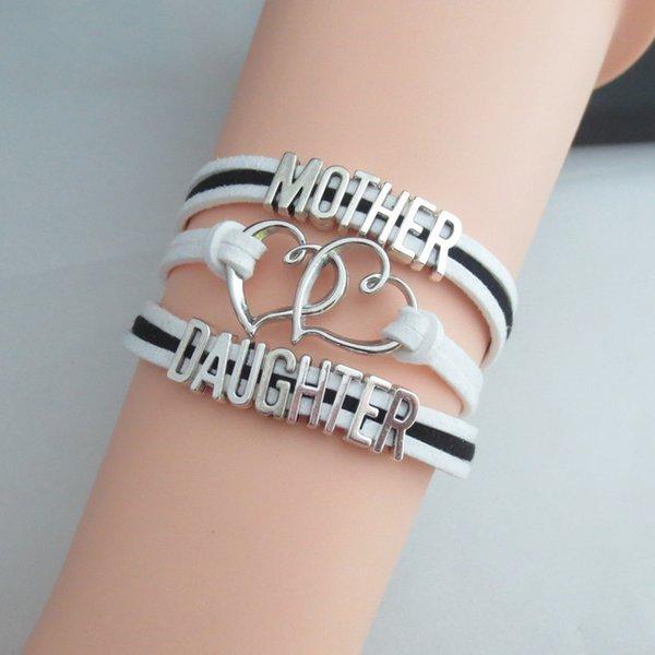 Fashion Charm Mother Love Daughter Leather Bracelets Love Girl Bracelet Jewelry Women Bangles