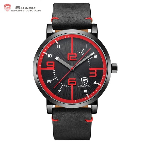 Bahamas Saw Shark Sport Watch Black Red Men Quartz Simple Long Second Hand Crazy Horse Leather Band Male Designer Watches /sh567 Y19021418