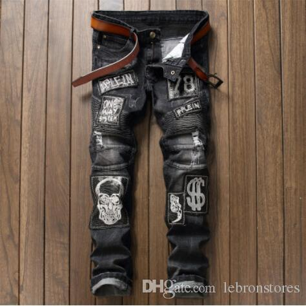 Fashion Designer Jeans Original Mens Teen Hole Slim Jeans Personality Skull Print Pleated Straight Denim Pants Street Hip Hop Pop Men Pants