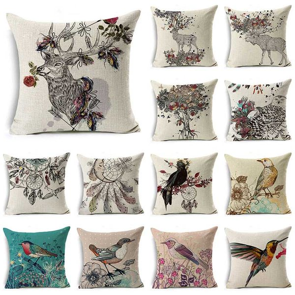 WZH Flower And Animal Cushion Cover 45x45cm Linen Decorative Pillow Cover Sofa Bed Pillow Case