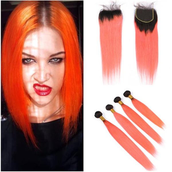 # 1B Ombre droite orange Tissages cheveux humains 4 Bundles et fermeture Roots Vierge Noire Ombre orange brésilienne cheveux Fermeture dentelle avec Bundles
