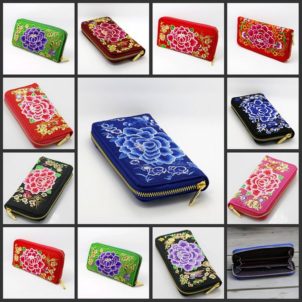 9styles Ethnic Style Embroidered Long Wallet zipper Flowers Wallet Pocket Money Bag Coin business gift party favor clutch Holder FFA1811