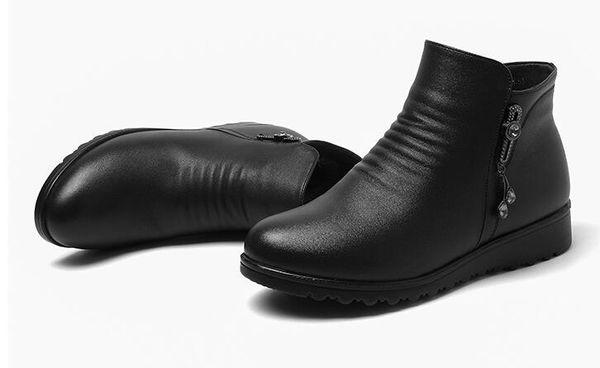 Inverno novo quente além de veludo cunha cabeça redonda de fundo chato botas de meia-idade das mulheres de algodão sapatos de salto baixo