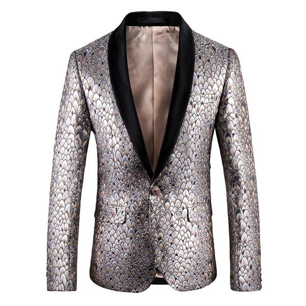Gold Pea Cock Pattern Suit Jacket Men Slim Fit Gold With Blalck Collar Banquet Blazer Men High Qaulity Blazer Masculina 5xl