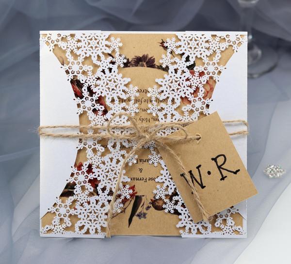 Лазерная резка Свадебные приглашения OEM в нескольких цветах Индивидуальные полые со сложенными снежинками персонализированные свадебные приглашения BW-HK67