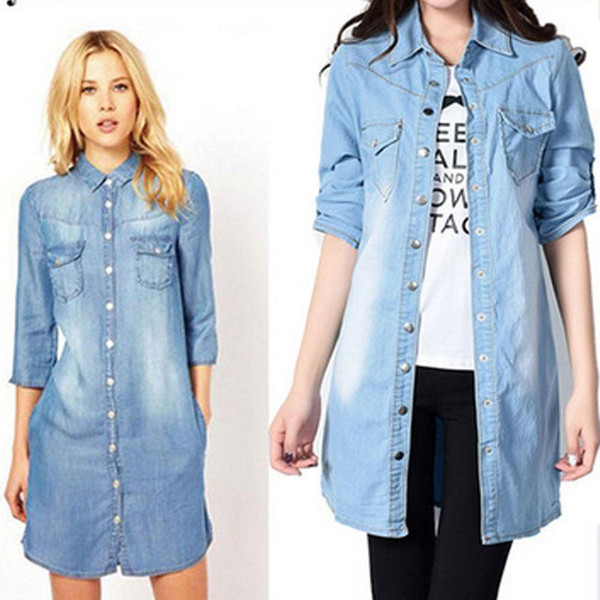 code promo b62c0 82566 2019 Hot Sale 2017 Women Denim Shirt Chemise Jean'S Femme Jeans Blouse Plus  Size Blusa Casual Tops Camisa Vetements Long Cardigan From Mj_covenant, ...