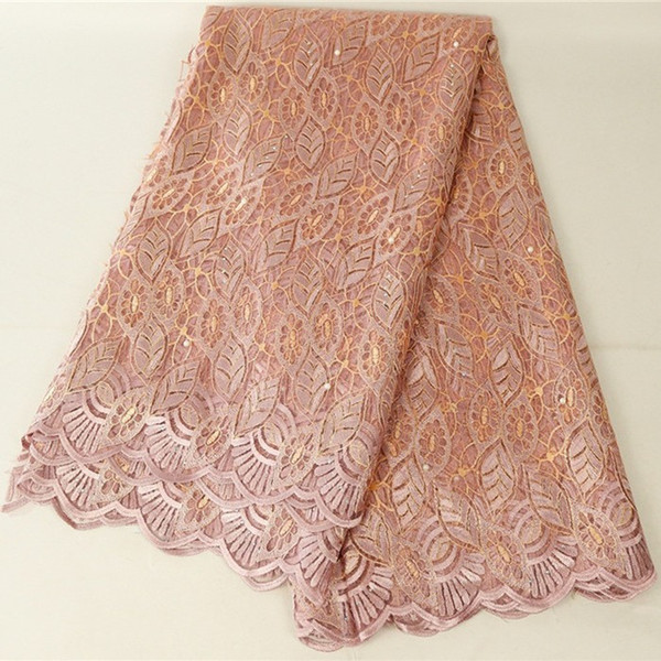 Tejidos de encaje nigerianos de alta calidad 5 yardas de tela de encaje francés africano para vestidos de tela de tul árabe 426-6