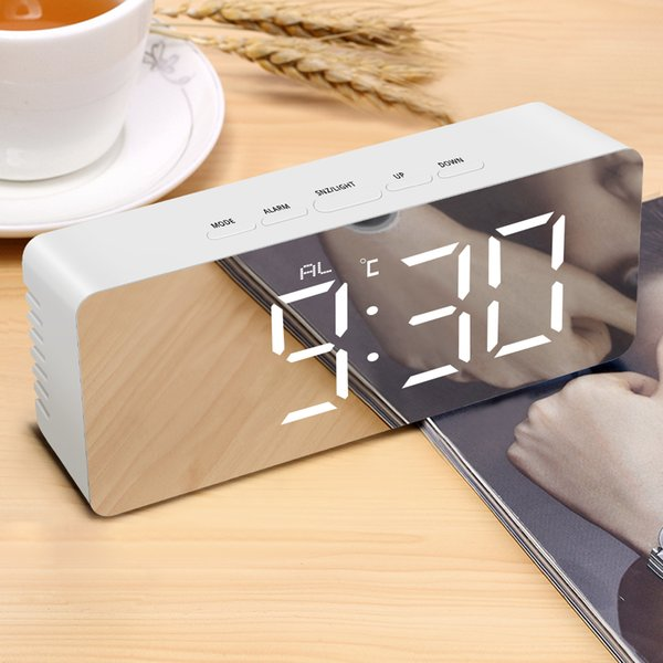 Digital Snooze Table Clock Mirror Clock Electronic Large Time Temperature Display LED Night USB Battery Powered Wake up Lights
