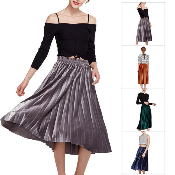 Jupe mi-longue plissée en velours purement élastique à la taille par FashionLady's abece gece elbisesi 2019 # M4Y