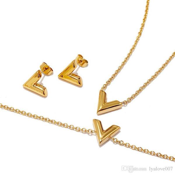 Lettera V braccialetto di fascino di marca collana orecchini set per le donne d'acciaio di titanio oro rosa braccialetto Chain del V Triangolo Carino Orecchini
