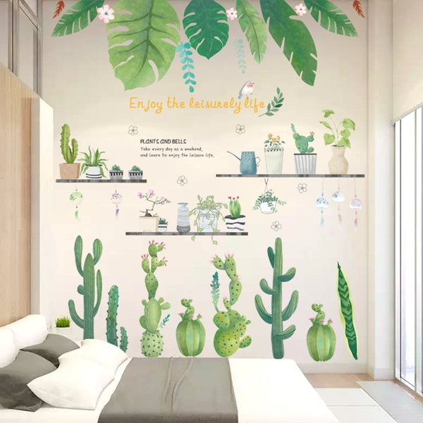 Tropical Tree Leaves Flower Butterfly Wall Stickers Diy Plant Wall Decals For Living Room Bedroom Decoration Home Decor Sticker 60 90cm Wall Stencils