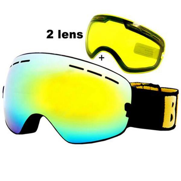 Gafas de esquí antiniebla UV400 Gafas de esquí Lente doble Esquí Snowboard Gafas de nieve Gafas con una lente brillante