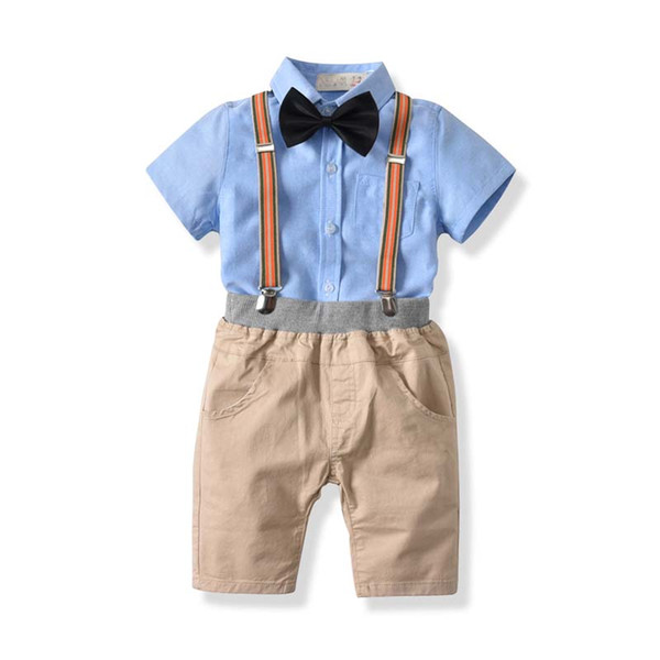 Sommer Kinder Boutique Kleidung Kinder Designer Kleidung Kleinkind Jungen Kleidung Sets Baby Jungen Set Shirt + Hosenträgerhose Shorts A2365