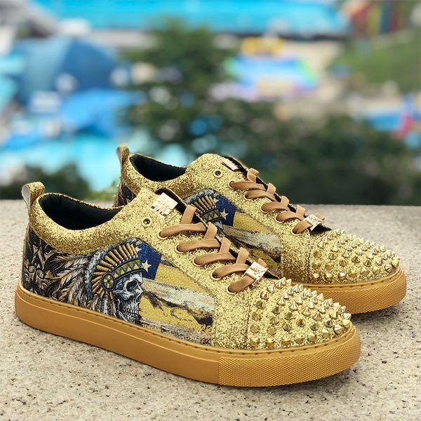 Бесплатная доставка 2019 роскошные мужские кожаные мокасины квартиры Gittler заклепки платье обувь на шнуровке Feminino человеческий скелет мужской Homecoming 3 цвет 39-45