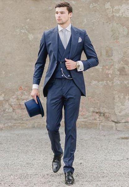 New Navy Blue Italian Men Suits Wedding Groom Tuxedos 3 Pieces (Jacket+Pants+Vest) Bridegroom Suits Best Man Blazer 159