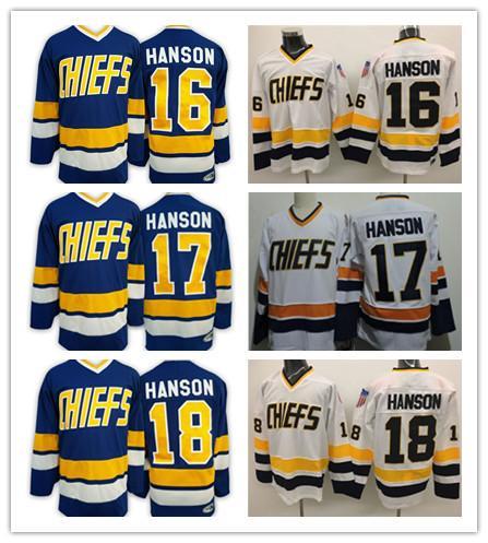 Mens Hanson Brothers 16 Jack 18 Jeff 17 Steve Hockey su ghiaccio con maglie di film Due colori di alta qualità