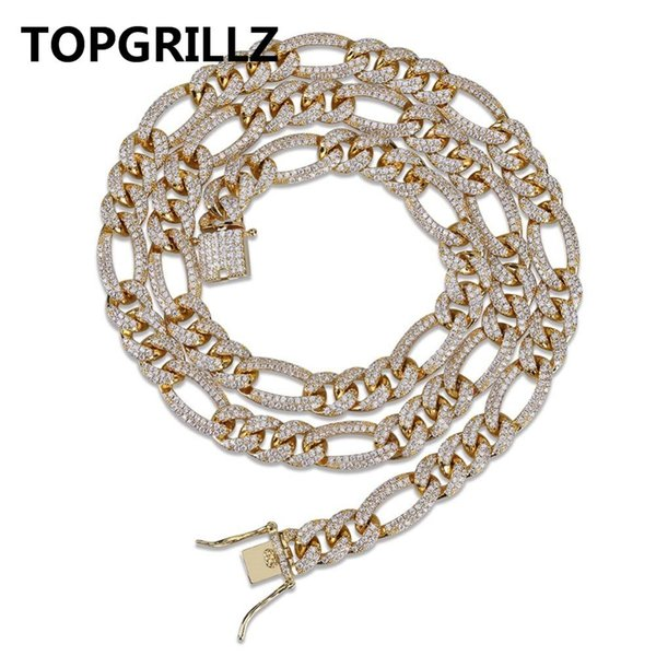 TOPGRILLZ 10mm Hip Hop Iced Out Full CZ Figaro Chain Link Necklace Gold Silver Color Necklace Men Charm Jewelry Gifts C18122501
