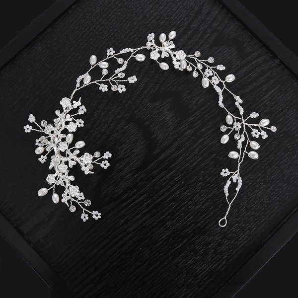 wholesale New Classic Handmade Exquisite Cute Simulation Pearls Headband Shining Rhinestone Elegant Bride Wedding Hair Accessories