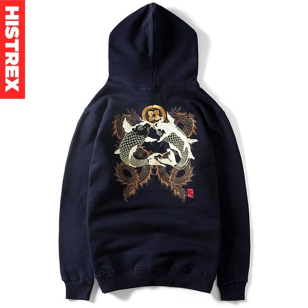 Embroidery Fsih Sweat homme Chinese Style Japanese Men Hoodie Sweatshirt Brand Clothes Hoodies Mens Hooded Oversize #TH005