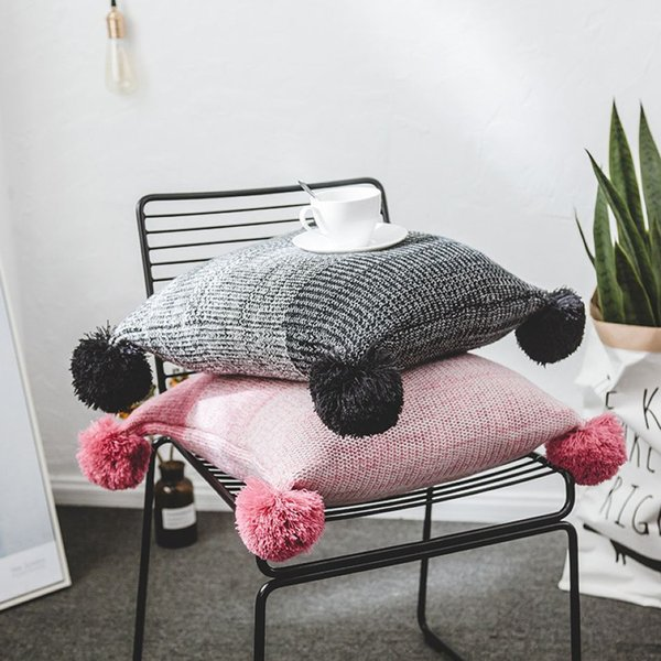45 * 45cm Pompon laine à tricoter 2 couleurs pillowslip Chaises Throw Taie d'oreiller dégradé de couleur Coussin Couverture 5 Pieces DHL