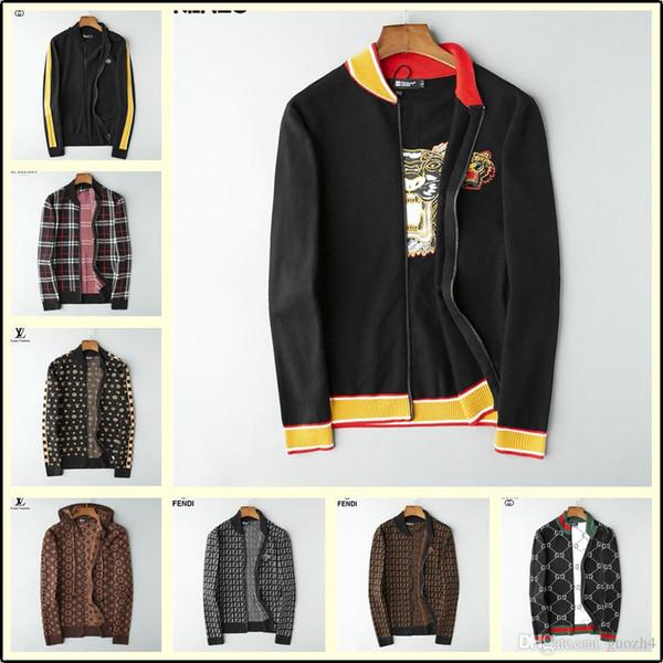 19ss New fashion vintage sweater Personality designer men jacket Business Knitting jacket Bee grey BLUE white Men's size lisy2