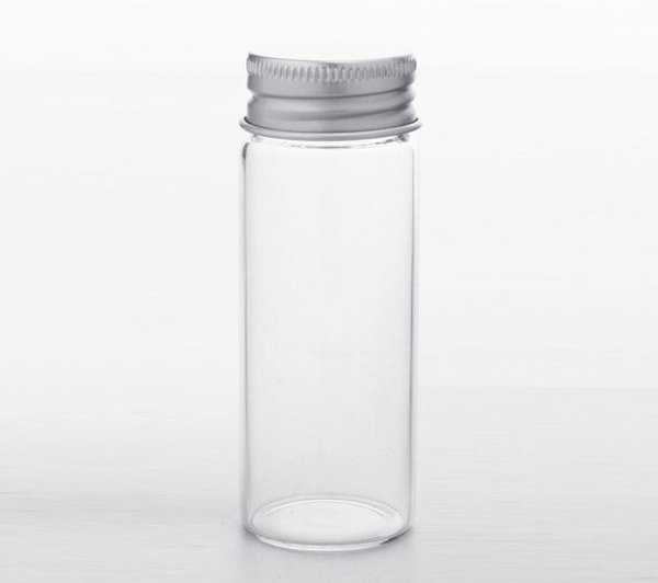 30x80mm 40ml Frascos de vidrio transparente con tapón de rosca de aluminio Botellas vacías Tapas de plata Botellas de vidrio Viales de regalo Frascos