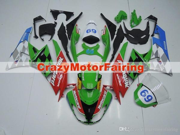 Hochwertiges neues ABS Motorradverkleidungen fit für Kawasakis Ninja ZX6R 636 2009 2010 2011 2012 ZX6R 09 10 11 12 Satz benutzerdefinierte Kits grün rot 69