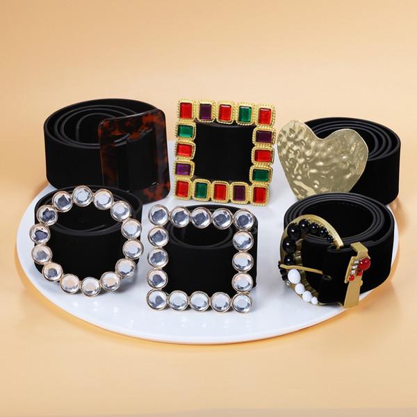 Girlgo marca praça rodada cintos de cristal para as mulheres geo acrílico geo declaração geométrica cintos maxi coração barriga chian jóias