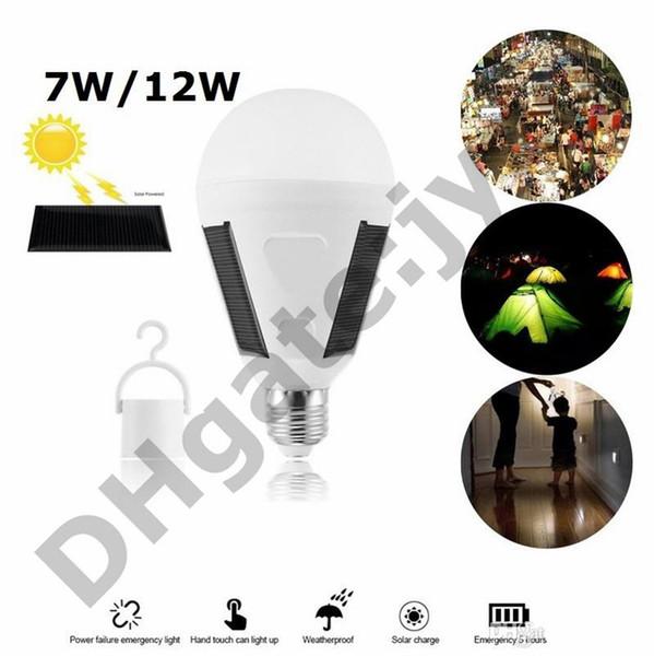 LED Solar Lamba 7 W 12 W Açık Led Ampul AC85-265V Bombillas E27 Şarj Edilebilir LED Güneş Ampul IP65 Kamp Acil aydınlatma