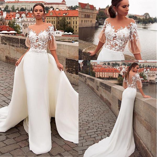 Joya cuello See-Through Top 2 en 1 boda vestidos con falda desmontable 2020 Apliques sirena medias mangas de encaje de la boda vestidos de novia