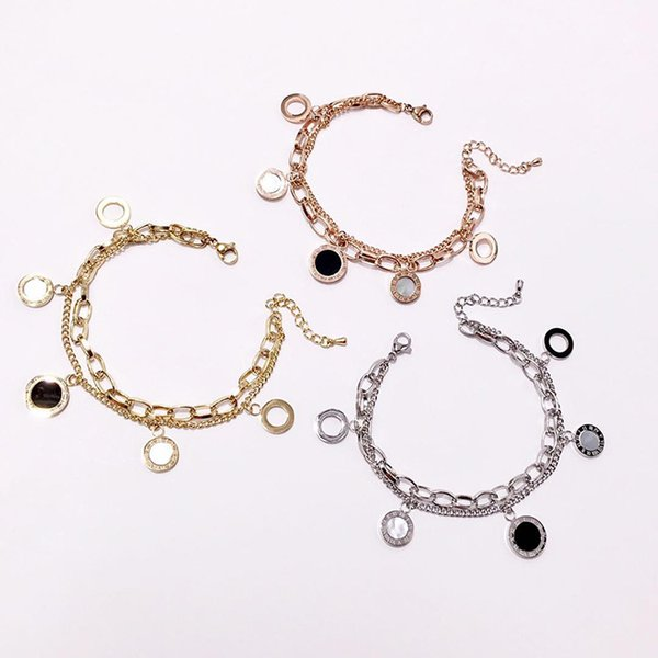316L titanium steel hot jewelry bracelet female models Roman numerals hollow black and white shell double bracelet couple