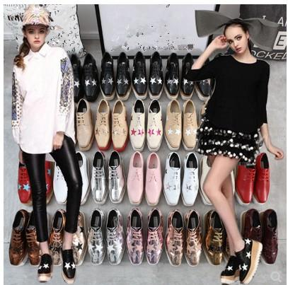 ¡Venta caliente 2019! Stella Mccartney Zapatos de Calidad Superior de Cuero Genuino de Las Mujeres Plataforma de Cuña Plataforma Oxfords Boost Sneakers 44F1