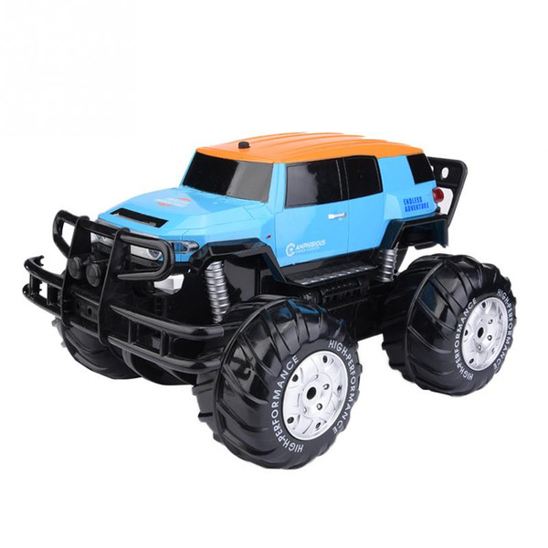 Blue Amphibious Remote Control Car 4 Wheels Drive Vehicle Big wheel Amphibious durable anti-collision RC Model toy gift for kids