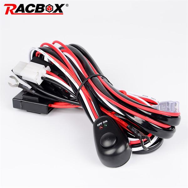 RACBOX 2 Metre 12V 40A Offroad LED Sürüş Lambası İlavesi Tel Röle Çalışma LED Işık Bar Kablolama Tezgah Harness Kiti Sigorta Anahtarı 4x4