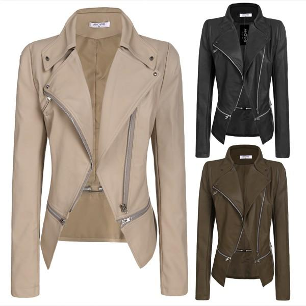 2019 designer Faux Leather Jacket Fashion Zipper Women Ladies Long Sleeve Autumn Winter Casual PU Leather Jacket Black wholesale