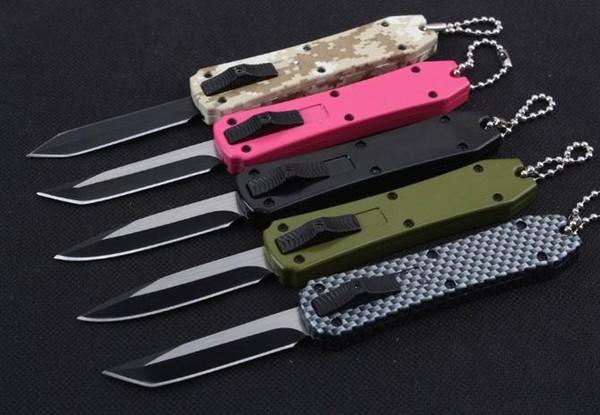 5 colores Mini llave de hebilla Cuchillo de bolsillo EDC automático Cuchillo automático de aluminio Cuchillo de regalo de Navidad 440C gota tanto D / E blade