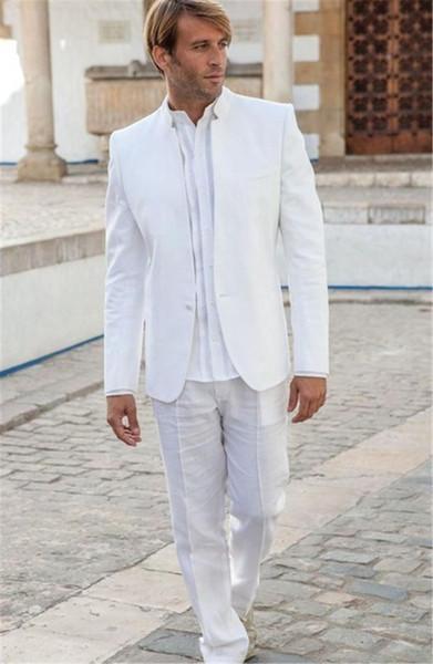Compre Los últimos Diseños De Pantalón Blanco Hombres Trajes De Cuello Alto Elegantes Trajes De Vestir De Los Hombres De La Vendimia Para Bodas